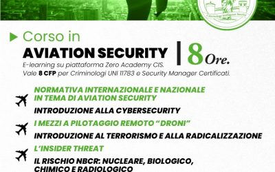 """NUOVO CORSO AICIS IN """"AVIATION SECURITY"""", APERTE LE ISCRIZIONI"""